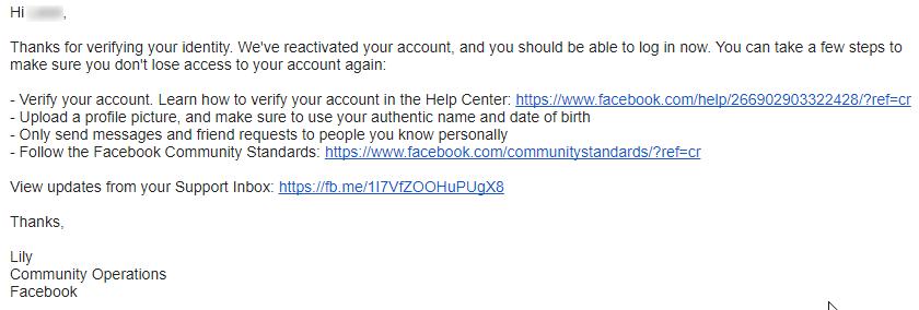 facebook 解封成功